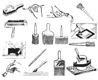 Brush And Work With Brushes Royalty Free Stock Images