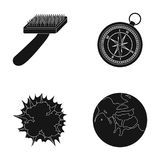Brush for an animal, compass and other web icon in black style. explosion, planet icons in set collection. Royalty Free Stock Images