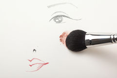 With a brush applying blush to the cheek. A make-up sketch, drawn on white paper, with a blush brush applying pink powder blush to the cheek Stock Image