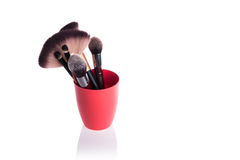 The brush for applying cosmetic make-up  on white Royalty Free Stock Photo