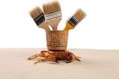 Brush, basket, crab on sand Royalty Free Stock Photography