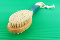Brush Bath. Lies on green background Stock Photography