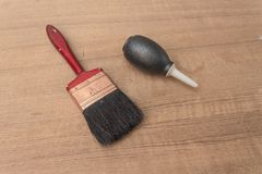 Brush and Black Silicone blower for camera and lenses rubber pear Royalty Free Stock Photography