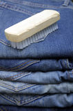 Brush on blue jeans Royalty Free Stock Image