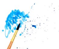 Brush with blue paint Stock Photos