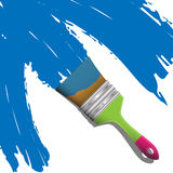 Brush with blue paint Royalty Free Stock Photos