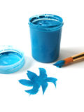 Brush and blue paint jar Royalty Free Stock Image