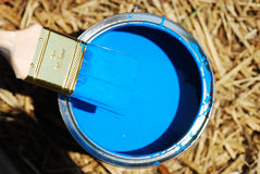 Brush in blue paint Royalty Free Stock Photo