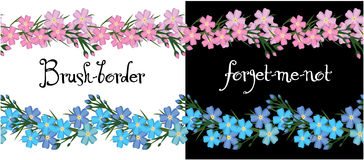 Brush border of flowers forget me not. vector. Stock Image