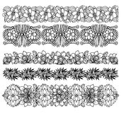 Brush border set with flower design Royalty Free Stock Photos