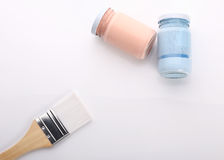 Brush and bottle glass of color for painting Royalty Free Stock Photo