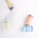 Brush and bottle glass of color for painting Royalty Free Stock Photography