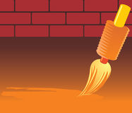 Brush and brick wall Royalty Free Stock Photography