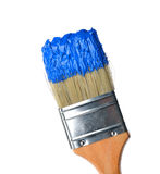 Brush with bright blue paint Stock Image