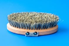 Brush with bristles made of horsehair on a blue background. Brush with bristles made of horsehair on blue background royalty free stock photos