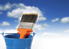 Brush and bucket. Royalty Free Stock Image