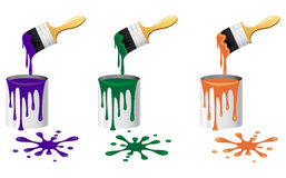 Brush and bucket. Vector illustration Royalty Free Stock Photography