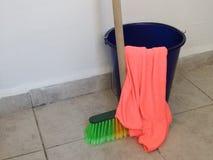 Brush bucket and rag Stock Photo
