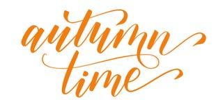 Brush calligraphy Autumn time. Handwritten brush calligraphy Autumn time isolated on white. Vector illustration royalty free illustration