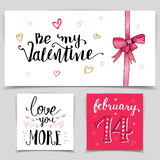 Brush calligraphy love cards set Royalty Free Stock Image