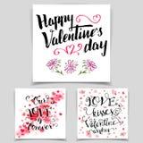 Brush calligraphy love cards set Stock Image