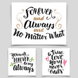 Brush calligraphy love cards set Royalty Free Stock Image