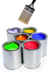 Brush and Cans of Paint. Open cans of paint with clean brush isolated over white background Royalty Free Stock Photography