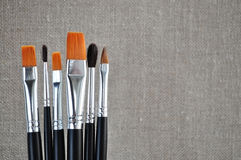 Brush and canvas Royalty Free Stock Photography