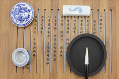 Brush and Chinese characters Royalty Free Stock Images