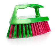Brush for cleaning with a plastic handle Stock Photo