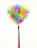 Brush close-up with colored paint splashes. Paintbrush close-up with colored paint splashes Stock Photography