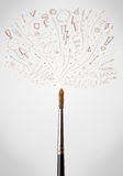 Brush close-up with sketchy arrows. Paintbrush close-up with sketchy arrows Stock Photography