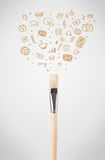Brush close-up with social media icons Royalty Free Stock Photography