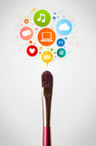 Brush close-up with social network icons Stock Photos