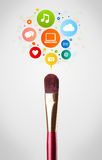 Brush close-up with social network icons Royalty Free Stock Photo