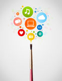 Brush close-up with social network icons Royalty Free Stock Photos