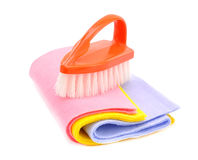 Brush and cloth to clean Royalty Free Stock Image