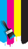 Brush with cmyk paint Royalty Free Stock Photo