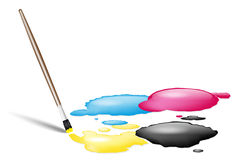 Brush and CMYK splashes Royalty Free Stock Images