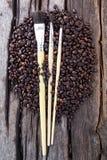 Brush coffee beans Stock Photo