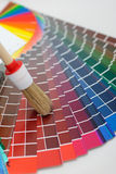 Brush on color chart. Color chart and brush,choosing colors Stock Photos