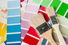 Brush and color charts Royalty Free Stock Photography