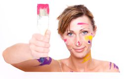 Brush colorful paint portrait Stock Image
