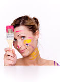 Brush colorful paint portrait Stock Photography
