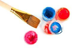 Brush and colorful paints Royalty Free Stock Images