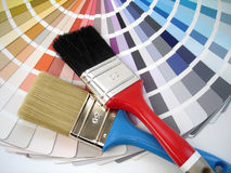 Brush and colour swatch. Paintbrush and colour swatch Royalty Free Stock Photo