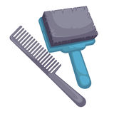Brush and comb for dog Royalty Free Stock Photo