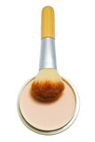 Brush and compact powder beige color isolated on white background. Stock Photos