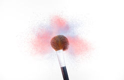 Brush Cosmetic dust color rose quartz and serenity Stock Photo