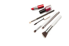 Brush and cosmetic isolated on a white background. Top view. Royalty Free Stock Images